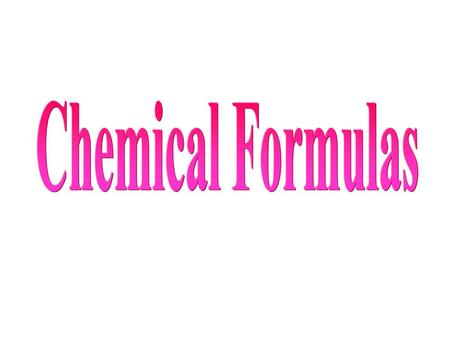Chemical formulas indicate the relative number of atoms of each kind element in a chemical compound (ionic and molecular) Ionic compound the number of.