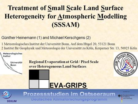 Treatment of Small Scale Land Surface Heterogeneity for Atmospheric Modelling (SSSAM) Günther Heinemann (1) and Michael Kerschgens (2) 1 Meteorologisches.