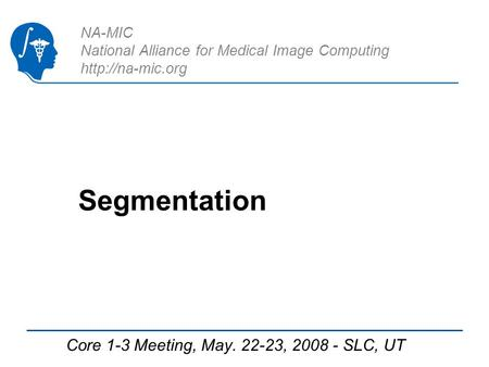 NA-MIC National Alliance for Medical Image Computing  Segmentation Core 1-3 Meeting, May. 22-23, 2008 - SLC, UT.