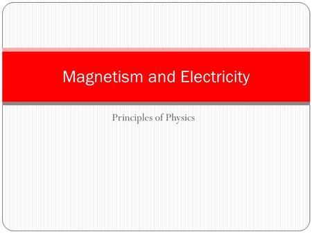 Principles of Physics Magnetism and Electricity. 3 Dimensional Directions Right Left Up Down Into Out of page page xxxxx.