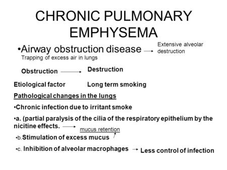 CHRONIC PULMONARY EMPHYSEMA Airway obstruction disease Extensive alveolar destruction Trapping of excess air in lungs Obstruction Destruction Etiological.