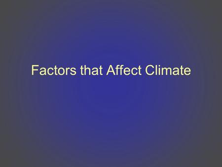 Factors that Affect Climate. What is climate? Climate is the average weather conditions over a long period of time –Includes average temperatures and.