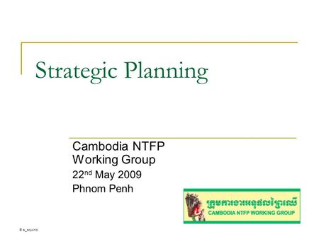 ® a_aquino Strategic Planning Cambodia NTFP Working Group 22 nd May 2009 Phnom Penh.