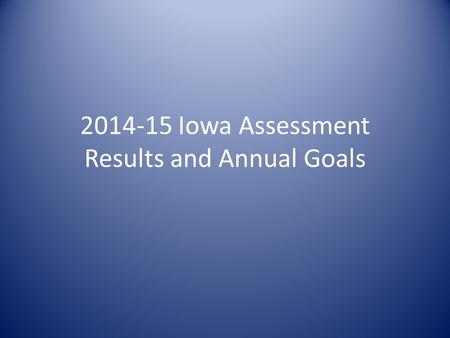 2014-15 Iowa Assessment Results and Annual Goals.