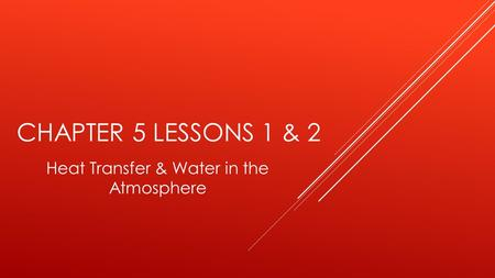 Heat Transfer & Water in the Atmosphere