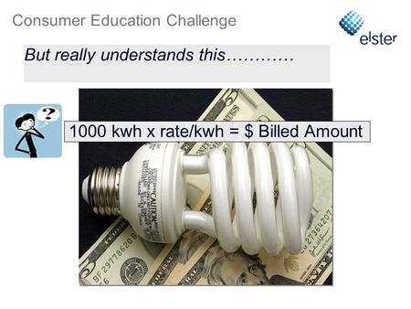 Consumer Education Challenge 1000 kwh x rate/kwh = $ Billed Amount When asked about energy usage, the customer receives this…… But really understands this…………