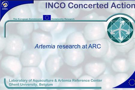 Laboratory of Aquaculture & Artemia Reference Center, Ghent University, Belgium Artemia research at ARC.