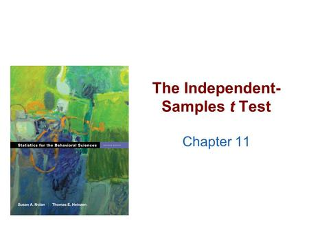 The Independent- Samples t Test Chapter 11. Quick Test Reminder >One person = Z score >One sample with population standard deviation = Z test >One sample.