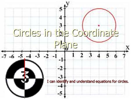 Circles in the Coordinate Plane I can identify and understand equations for circles.