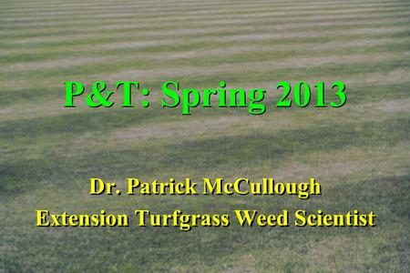 P&T: Spring 2013 Dr. Patrick McCullough Extension Turfgrass Weed Scientist Dr. Patrick McCullough Extension Turfgrass Weed Scientist.