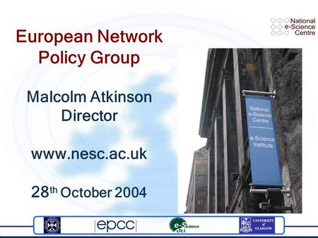 European Network Policy Group Malcolm Atkinson Director www.nesc.ac.uk 28 th October 2004.
