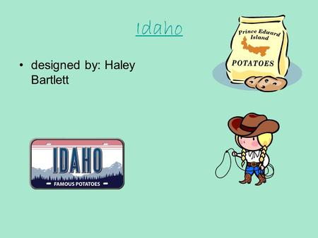 Idaho designed by: Haley Bartlett Idaho's State Seal The Idaho state Flag has an elk head in the middle of it. The state seal is on the Idaho state flag.