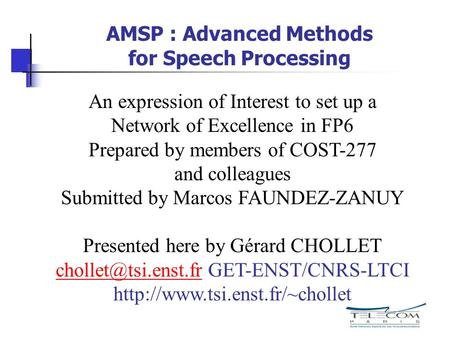 AMSP : Advanced Methods for Speech Processing An expression of Interest to set up a Network of Excellence in FP6 Prepared by members of COST-277 and colleagues.
