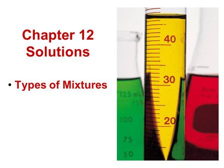 Chapter 12 Solutions Types of Mixtures. Classification Scheme.