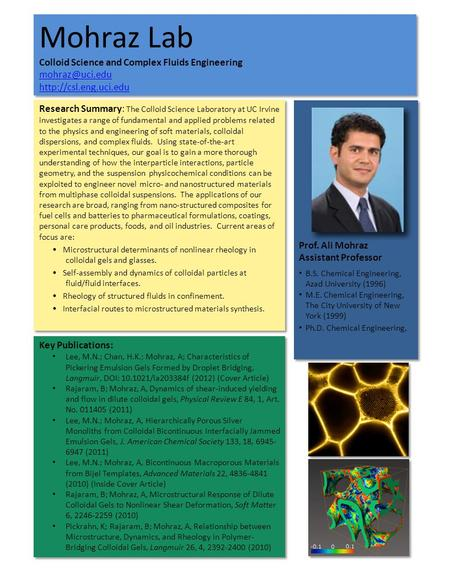 Mohraz Lab Colloid Science and Complex Fluids Engineering   Mohraz Lab Colloid.
