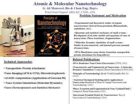 Atomic & Molecular Nanotechnology G. Ali Mansoori, Bio & Chem Eng; Dept.s Prime Grant Support: ARO, KU, UMSL, ANL Problem Statement and Motivation Technical.