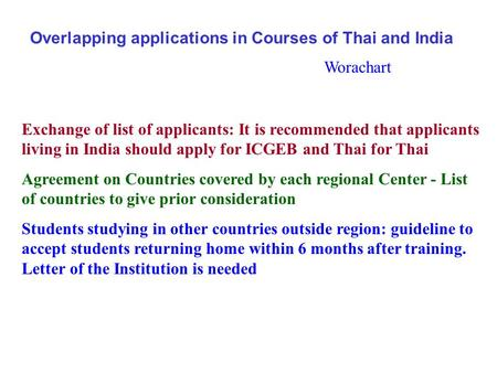 Overlapping applications in Courses of Thai and India Exchange of list of applicants: It is recommended that applicants living in India should apply for.