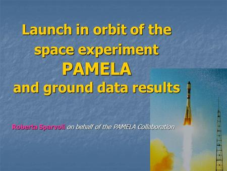 Launch in orbit of the space experiment PAMELA and ground data results Roberta Sparvoli on behalf of the PAMELA Collaboration.