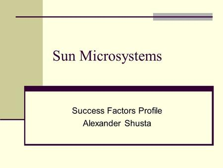 An analysis of sun microsystems