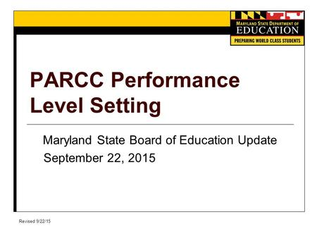 PARCC Performance Level Setting