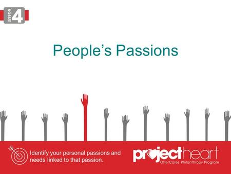 People's Passions. Personal Passion Define personal passion: a powerful or compelling emotion or feeling about a specific topic LESSON.