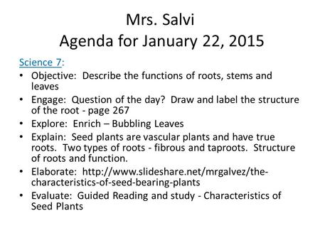 Mrs. Salvi Agenda for January 22, 2015 Science 7: Objective: Describe the functions of roots, stems and leaves Engage: Question of the day? Draw and label.
