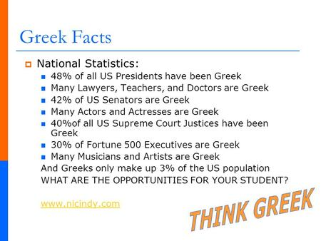 Greek Facts THINK GREEK National Statistics: