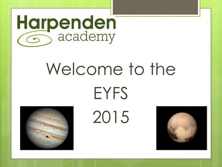 Welcome to the EYFS 2015. Our Team  Karen – Early Years Leader  Jenny – Teacher  Caroline – APP Teacher cover (Wednesday morning)  Anne - Montessori.