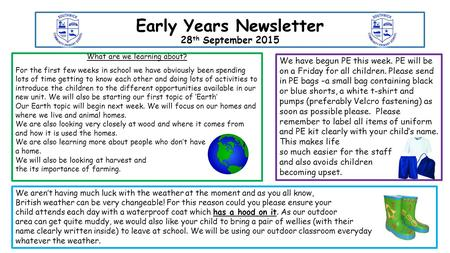Early Years Newsletter 28 th September 2015 What are we learning about? For the first few weeks in school we have obviously been spending lots of time.