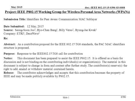 Doc.: IEEE 802.15-15-0396-03-0008 Submission ETRI May 2015 Slide 1 Project: IEEE P802.15 Working Group for Wireless Personal Area Networks (WPANs) Submission.