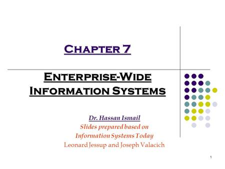 1 Chapter 7 Enterprise-Wide Information Systems Dr. Hassan Ismail Slides prepared based on Information Systems Today Leonard Jessup and Joseph Valacich.