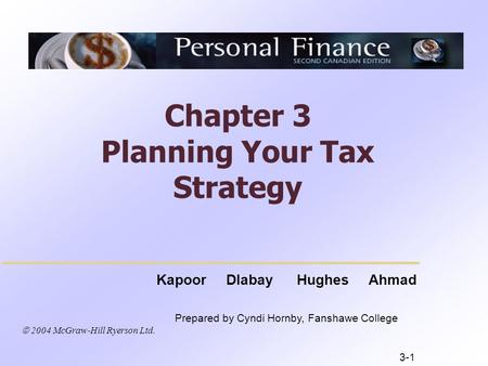  2004 McGraw-Hill Ryerson Ltd. Kapoor Dlabay Hughes Ahmad Prepared by Cyndi Hornby, Fanshawe College Chapter 3 Planning Your Tax Strategy 3-1.