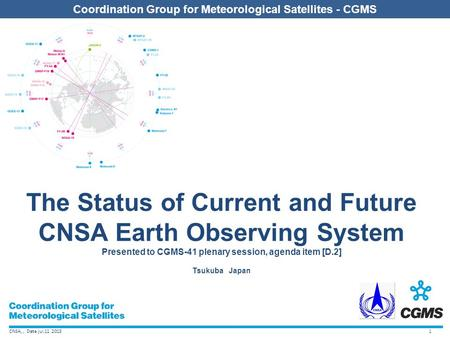 CNSA,, Date jul.11 2013 Coordination Group for Meteorological Satellites - CGMS The Status of Current and Future CNSA Earth Observing System Presented.