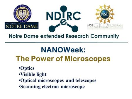 Notre Dame extended Research Community NANOWeek: The Power of Microscopes Optics Visible light Optical microscopes and telescopes Scanning electron microscope.