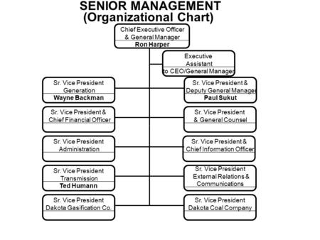 SENIOR MANAGEMENT (Organizational Chart) Chief Executive Officer & General Manager Ron Harper Executive Assistant to CEO/General Manager Sr. Vice President.
