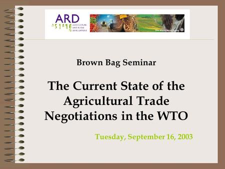 Brown Bag Seminar The Current State of the Agricultural Trade Negotiations in the WTO Tuesday, September 16, 2003.