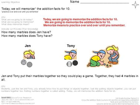 DataWORKS Educational Research (800) 495-1550  ©2011 All rights reserved. Comments? 1st Grade Number Sense.