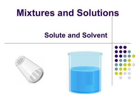 Solute and Solvent Mixtures and Solutions. Heterogeneous materials - can see two parts Matter Homogeneous materials can see only one thing - one set of.