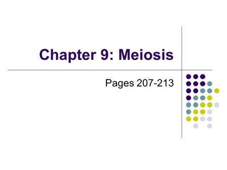 Chapter 9: Meiosis Pages 207-213. Sexual Reproduction the union of 2 specialized sex cells (gametes) to form a single cell called a zygote Gametes usually.