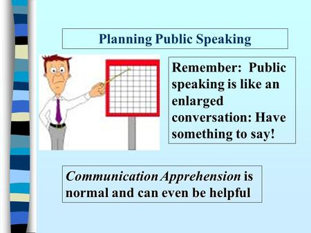 Planning Public Speaking Communication Apprehension is normal and can even be helpful Remember: Public speaking is like an enlarged conversation: Have.