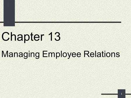 1 Chapter 13 Managing Employee Relations 2 Open-Door Policy A policy of encouraging employees to come to higher management with any concerns.