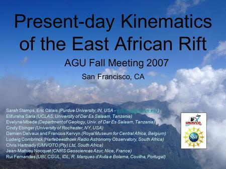 Present-day Kinematics of the East African Rift Sarah Stamps, Eric Calais (Purdue University, IN, USA - Elifuraha.
