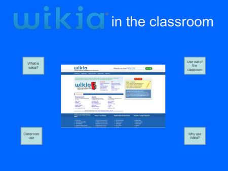In the classroom What is wikia? Classroom use Use out of the classroom Why use Wikia?