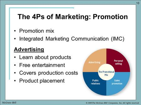 © 2009 The McGraw-Hill Companies, Inc. All rights reserved. 10 McGraw-Hill The 4Ps of Marketing: Promotion Promotion mix Integrated Marketing Communication.