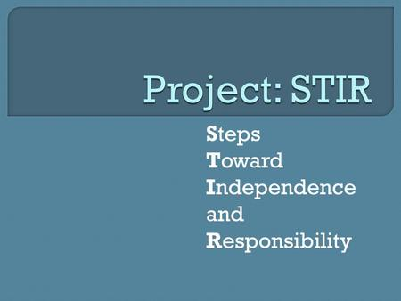 Steps Toward Independence and Responsibility.  About US  About STIR  About YOU.