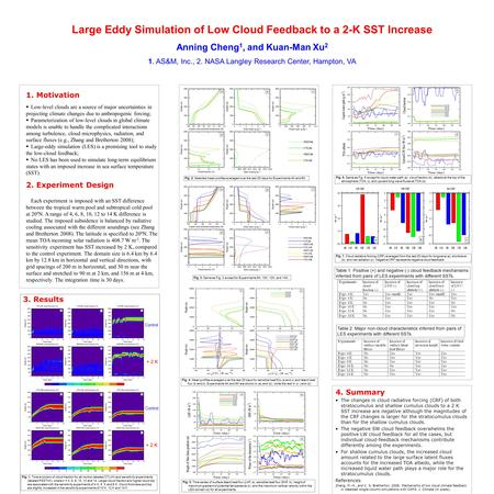 Large Eddy Simulation of Low Cloud Feedback to a 2-K SST Increase Anning Cheng 1, and Kuan-Man Xu 2 1. AS&M, Inc., 2. NASA Langley Research Center, Hampton,