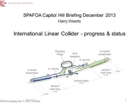 1 SPAFOA Capitol Hill Briefing December 2013 Harry Weerts International Linear Collider - progress & status SPAFOA meeting, Dec 11, 2013, H.Weerts.