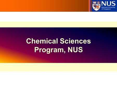 Chemical Sciences Program, NUS. Chemical Sciences Program Chemical Engineering Chemistry (Base degree) Graduate Program (NGS or NUS) Medicinal Chemistry,