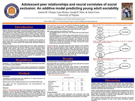 Adolescent peer relationships and neural correlates of social exclusion: An additive model predicting young adult sociability Introduction Joanna M. Chango,