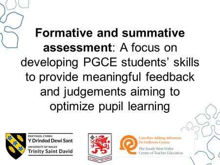 Formative and summative assessment: A focus on developing PGCE students' skills to provide meaningful feedback and judgements aiming to optimize pupil.